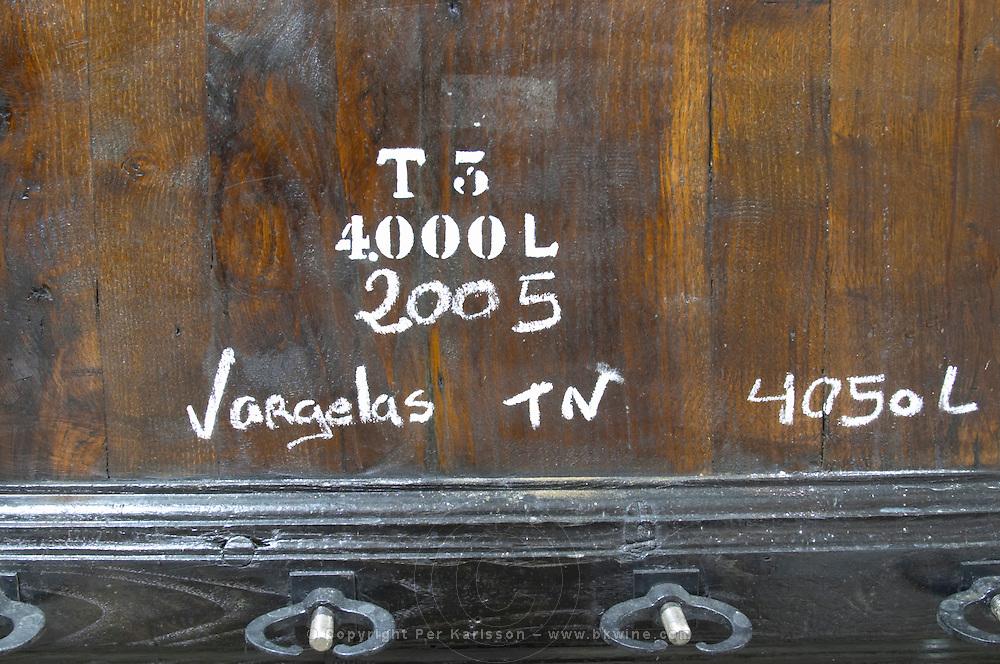 touriga nacional sign on tank vargelas 2005 quinta do vallado douro portugal