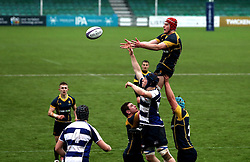 Tom Fawcett (Warwick School) of Worcester Warriors U18 wins the ball from the line out - Mandatory by-line: Robbie Stephenson/JMP - 29/01/2017 - RUGBY - Sixways Stadium - Worcester, England - Worcester Warriors U18 v Sale Sharks U18 - Premiership Rugby U18 Academy League
