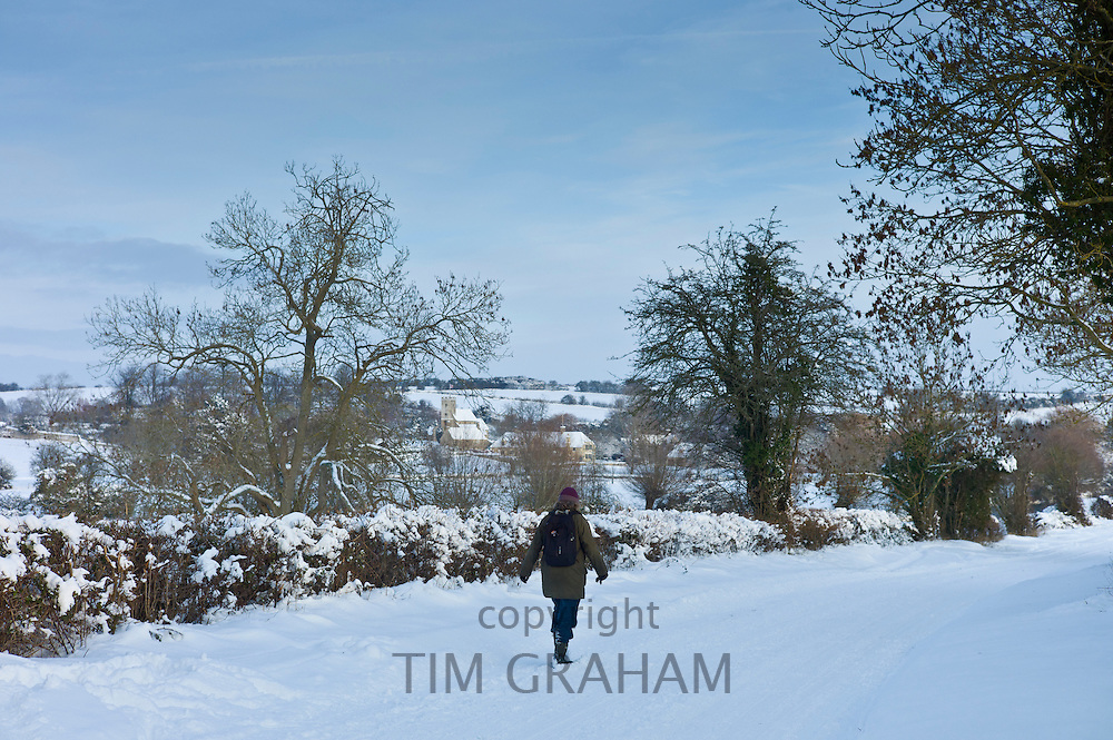 Lone walker along snow-covered  lane in the Windrush valley, Swinbrook, The Cotswolds