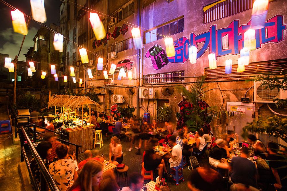 The backyard of Diego San bar and restaurant in Tel Aviv's Florentine neighborhood