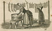 A woman at a wash tub while another in the background another pegs out washing. Engraving, 1825