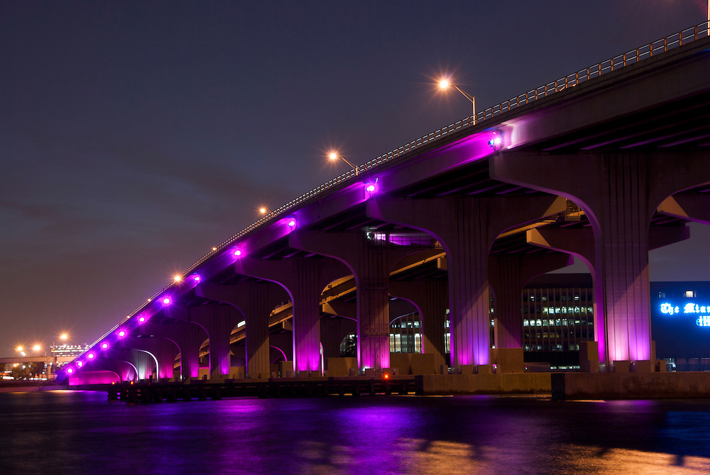Night View Biscayne Bay with Julia Tuttle Causeway. Miami.