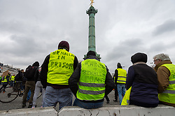 Act 12 of yellow vests protest at the Place Bastille in Paris, France, on February 02, 2019. Photo by Serge Tenani/Avenir Pictures/ABACAPRESS.COM