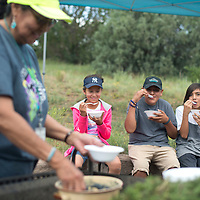 From left, Grace Tracy dishes out blue corn mush with juniper ash to Autumn Shirley, Logan Shirley and Matthew Yazzie at the Youth Culture Retreat held at Assayí Lake July 29. The retreat was put on as a health promotion for Tséhootsooí Medical Center as a way of treating Navajo youth traditional skills.