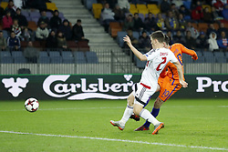 (L-R) Stanislav Dragun of Belarus, Davy Propper of Holland 0-1 during the FIFA World Cup 2018 qualifying match between Belarus and Netherlands on October 07, 2017 at Borisov Arena in Borisov,  Belarus