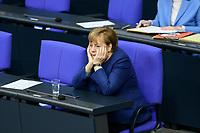 08 DEC 2020, BERLIN/GERMANY:<br /> Angela Merkel, CDU, Bundeskanzlerin, Haushaltsdebatte, Plenum, Reichstagsgebaeude, Deuscher Bundestag<br /> IMAGE: 20201208-02-021<br /> KEYWORDS: Muede, müde