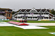 The covers are on after more heavy overnight rain ahead of the Specsavers County Champ Div 1 match between Somerset County Cricket Club and Essex County Cricket Club at the Cooper Associates County Ground, Taunton, United Kingdom on 25 September 2019.