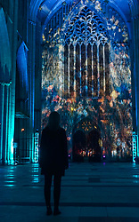 Pictured: Artists Ross Ashton and Karen Monid have designed sound and light projection inspired by the cathedral's stained glass and architecture. The Northern Lights installation will be available for visitors at the Cathedral from October 24 to October 31 for eight evenings.<br /> <br /> <br /> Giannis Alexopoulos | EEm 23/10/2019