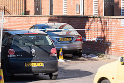 © Licensed to London News Pictures. 22/04/2021. Walton-on-Thames, UK. A vehicle inside a cordon with plastic bag next to the wheel. Police responded to an incident at 14:15 BST on church Street in Walton-on-Thames, police and forensic investigators could be seen at he scene. Photo credit: Peter Manning/LNP