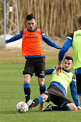 January 5, 2018 - San Roque, SPAIN - Club's Dion Cools and Club's Erhan Masovic fight for the ball during the second day of the winter training camp of Belgian first division soccer team Club Brugge, in San Roque, Spain, Friday 05 January 2018. BELGA PHOTO BRUNO FAHY (Credit Image: © Bruno Fahy/Belga via ZUMA Press)