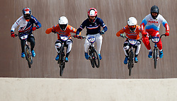 Great Britain's Kyle Evans (left) during his quarter final during day ten of the 2018 European Championships at the Glasgow BMX Centre Track.