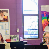 042015  Adron Gardner/Independent<br /> <br /> Sharon Wilkins, left, and Lynn Foster, play their French horns during Gallup Music Teacher's Ensemble practice at Gallup Middle School Monday.