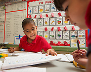 Students work on their dual language skills at Helms Elementary School, October 27, 2014.