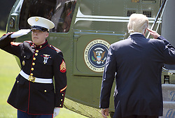 August 22, 2017 - Washington, District of Columbia, United States of America - United States President Donald J. Trump salutes the Marine Guard as he departs the White House in Washington, DC for a two day trip that will take him to Phoenix, Arizona for a ''Make America Great Again'' rally and to Reno, Nevada on Wednesday to address the National Convention of the American Legion on Tuesday, August 22, 2017..Credit: Ron Sachs / CNP (Credit Image: © Ron Sachs/CNP via ZUMA Wire)