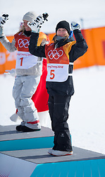 February 11, 2018 - Pyeongchang, South Korea - ENNI RUKAJARVI of Finland celebrates her bronze medal finish in the Womens Snowboard Slopestyle finals Monday, February 12, 2018 at Phoenix Snow Park at the Pyeongchang Winter Olympic Games.  Photo by Mark Reis, ZUMA Press/The Gazette (Credit Image: © Mark Reis via ZUMA Wire)