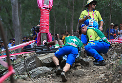 Lesotho's Likeleli Masitise receives medical treatment after falling off her bike in the Women's Cross-Country at the Nerang Mountain Bike Trails during day eight of the 2018 Commonwealth Games in the Gold Coast, Australia.