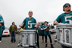 A Marching band performs in the parking lot before the NFL game between the New York Giants and the Philadelphia Eagles on November 1st 2009. The Eagles won 40 to 17 at Lincoln Financial Field in Philadelphia, Pennsylvania. (Photo By Brian Garfinkel)