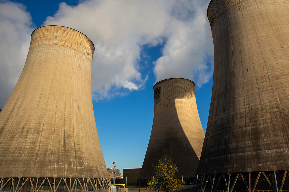 Smoke and steam bellows from the chimneys and cooling towers of Ratcliffe-on-Soar coal fired power station, owned and operated by Uniper at Ratcliffe-on-Soar in Nottinghamshire, England. The plant emits 8–10 million tonnes of CO2 annually. It has a generating capacity of 2,116 MW,  enough electricity to meet the needs of approximately 2 million homes. (photo by Andrew Aitchison / In pictures via Getty Images)