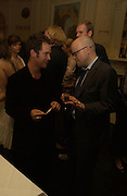 Tom Hollander and Toby Young. Party for Bret Easton Ellis's book 'Lunar Park'  given by Geordie Greig. Home House. Portman Sq. London.  London. 5 October 2005. . ONE TIME USE ONLY - DO NOT ARCHIVE © Copyright Photograph by Dafydd Jones 66 Stockwell Park Rd. London SW9 0DA Tel 020 7733 0108 www.dafjones.com