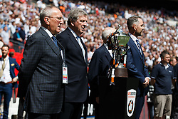 England Manager Roy Hodgson (2L) stands by the Vanamara Conference Playoff Final Trophy - Photo mandatory by-line: Rogan Thomson/JMP - 07966 386802 - 17/05/2015 - SPORT - FOOTBALL - London, England - Wembley Stadium - Bristol Rovers v Frimsby Town - Vanarama Conference Premier Play-off Final.