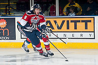 KELOWNA, CANADA - MARCH 8: Lucas Nickles #9 of the Tri-City Americans skates with the puck against the Kelowna Rockets on March 8, 2014 at Prospera Place in Kelowna, British Columbia, Canada.   (Photo by Marissa Baecker/Getty Images)  *** Local Caption *** Lucas Nickles;