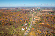 Aerial view of Highway 12 in the Baraboo Hills, heading towards Baraboo in the distance; Baxter Hollow State Natural area is on the left.