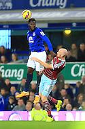Romelu Lukaku of Everton beats West Ham's James Collins in the air - Everton vs. West Ham United - Barclay's Premier League - Goodison Park - Liverpool - 22/11/2014 Pic Philip Oldham/Sportimage