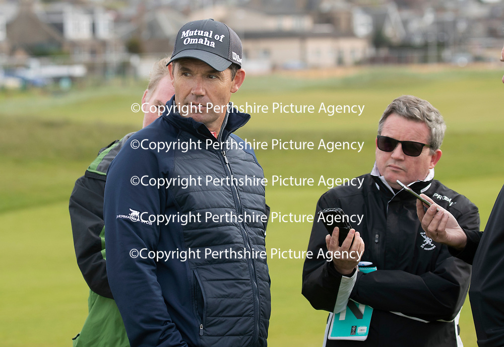 Padraig Harrington Returns to Carnoustie…09.05.18<br />Golfer Padraig Harrington returned to Carnoustie to play the four play off holes that saw him win The Open in 2007. He is pictured being interviewed by Daily Mail's John Greechan<br />Picture by Graeme Hart.<br />Copyright Perthshire Picture Agency<br />Tel: 01738 623350  Mobile: 07990 594431