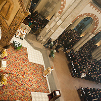 MILAN, ITALY - DECEMBER 07: A view from the choir of Cardinal Luigi Tettamanzi, Archibishop of Milan, celebrating the Missa Pontificalis in honour of Saint Ambrogio on December 7, 2010 in Milan, Italy. The skeleton of Saint Ambrogio lays with the remains of San Gervasio e San Protasio in the ancient basilica of Sant'Ambrogio in the city centre of Milan