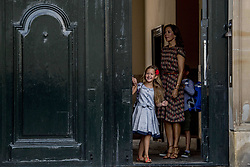 Crown Princess Mary of Denmark poses along with her daughter Princess Josephine outside Amalienborg palace in Copenhagen, Denmark, on Tuesday August 15, 2017. Prince Vincent and Princess Josephine, both born in 2011, begin in grade 0 at Tranegard School in Hellerup on Tuesday. The twins are the youngest children of the crown princely couple. Photo by Robin Utrecht/ABACAPRESS.COM