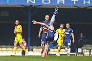 Southend United defender Taylor Moore (23) does an overhead kick during the EFL Sky Bet League 1 match between Southend United and Burton Albion at Roots Hall, Southend, England on 22 April 2019.
