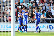 Everton's Kevin Mirallas (11 in centre ) celebrates with teammates Pienaar (l), Fellaini and Osman ® after he scores his sides 2nd goal.  Barclays Premier league, Swansea city v Everton at the Liberty stadium in Swansea, South Wales on Sat 22nd Sept 2012.   pic by  Andrew Orchard, Andrew Orchard sports photography,