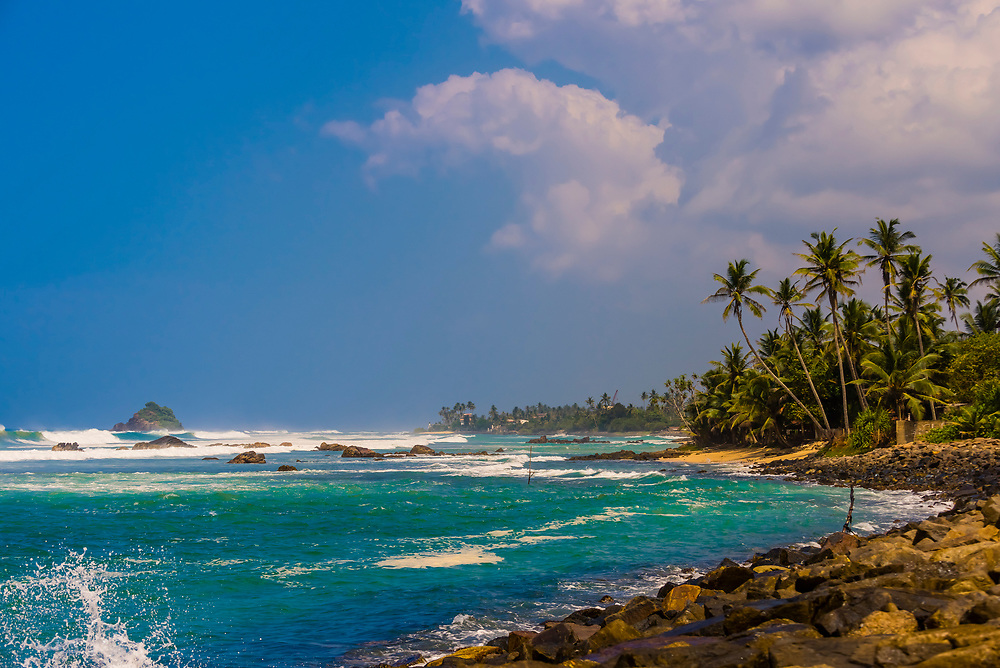 Waves, Indian Ocean, Ahangama, south coast of Sri Lanka.