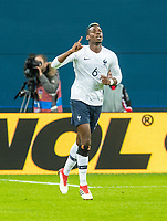 SAINT PETERSBURG, RUSSIA - MARCH 27: RUSSIA-FRANCE. International friendly football match at Saint Petersburg Stadium on March 27, 2018 in Saint-Petersburg, Russia.France's Paul Pogba celebrates his goal. (Photo by MB Media/Getty Images)