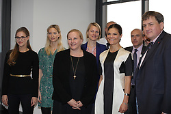 © Licensed to London News Pictures . H.R.H. Crown Princess Victoria (second from right) with Sweden's Minister for Trade Ewa Björling (on her right) and Deputy Major Kit Malthouse (left) visits  Level39, Europe's largest FinTech accelerator space, at Canary Wharf, London. (07/11/2013) . Photo credit : LNP