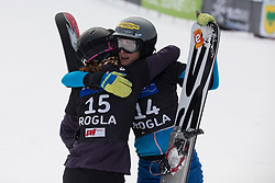 Hofmeister R and Dujmovits Julia during the woman's Snowboard giant slalom of the FIS Snowboard World Cup 2017/18 in Rogla, Slovenia, on January 21, 2018. Photo by Urban Meglic / Sportida