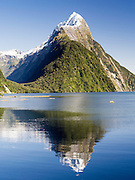 Clear view of Mitre Peak from Milford Sound; Fiordland National Park, New Zealand