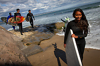 Santa Cruz, California | 2014<br /> On a tour of the United States, India's first female professional surfer Ishita Malaviya spends an afternoon surfing with her partner Tushar Pathiyan (far left) and local surfers. Ishita and Tushar founded the Shaka Surf Club—India's first—in Manipal.