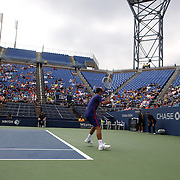 Novak Djokovic, Serbia, in action against Stanislas Wawrinka, Switzerland, during the US Open Tennis Tournament, Flushing, New York. USA. 5th September 2012. Photo Tim Clayton