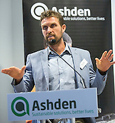 Sam Duby of SteamaCo speaking at the 2015 Ashden International Conference. The Business of Energy: Enterprising Solutions to the Energy Access Challenge. Kings Cross, London, UK. All image use must be credited. © Andrew Aitchison / Ashden
