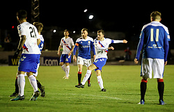 Rangers' Andy Halliday score his sides first goal during the William Hill Scottish Cup fourth round match at Central Park, Cowdenbeath.