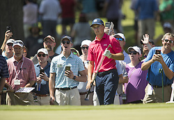 May 26, 2018 - Fort Worth, TX, USA - FORT WORTH, TX - MAY 26, 2018 - Jordan Spieth and fans watch his chip almost go in the cup on the 5th hole during the third round of the 2018 Fort Worth Invitational PGA at Colonial Country Club in Fort Worth, Texas (Credit Image: © Erich Schlegel via ZUMA Wire)
