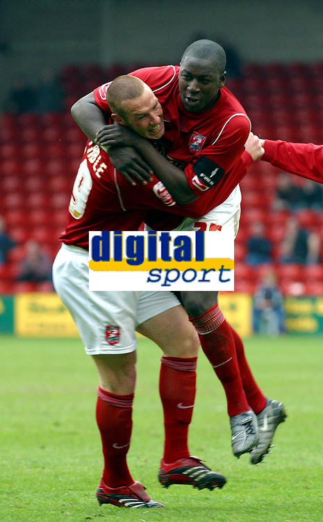 Photo: Dave Linney.<br />Walsall v Port Vale. Coca Cola League 1. 15/04/2006.<br />Walsall's James Constable (L) celebrates his goal with  Pablo Mills