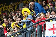 Watford fans celebrate the first goal during the Sky Bet Championship match between Watford and Sheffield Wednesday at Vicarage Road, Watford, England on 2 May 2015. Photo by Phil Duncan.