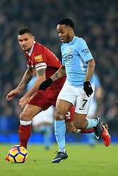 14th January 2018 - Premier League - Liverpool v Manchester City - Raheem Sterling of Man City battles with Dejan Lovren of Liverpool - Photo: Simon Stacpoole / Offside.