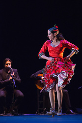 """© Licensed to London News Pictures. 10 March 2014. London, England. Pictured: Belén Maya dancing. """"Trasmín"""" performed by the Belén Maya Company during the Flamenco Festival London 2014 at Sadler's Wells Theatre. Photo credit: Bettina Strenske/LNP"""