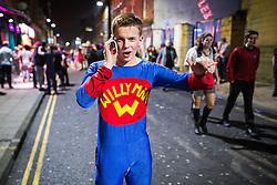 © Licensed to London News Pictures . 27/12/2015 . Wigan , UK . Willy Man . Revellers in Wigan enjoy Boxing Day drinks and clubbing in Wigan Wallgate . In recent years a tradition has been established in which put on fancy dress for a Boxing Day night out . Photo credit : Joel Goodman/LNP