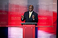Herman Cain..Eight republican candidates for US President face off at a debate held at the Ronald Reagan Library. The debate was sponsored by NBC News and POLITICO, and was moderated by Brian Williams, anchor of NBC Nightly News.