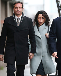 © Licensed to London News Pictures. 06/01/2016. Croydon, UK. Former Chelsea team doctor EVA CARNEIRO (right) arrives at Croydon Employment Tribunal with her husband JASON DE CARTERET (left). Carneiro is claiming constructive dismissal against Chelsea football club. Photo credit: Peter Macdiarmid/LNP
