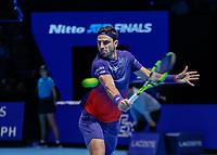 Tennis - 2019 Nitto ATP Finals at The O2 - Day Six<br /> <br /> Doubles Group Max Mirnyi: Juan Sebastien Cabal (COL) & Robert Farah (COL) Vs. Kevin Krawietz (GER) & Andreas Mies (GER)<br /> <br /> Robert Farah (COL) with a with a backhand return of serve<br /> <br /> <br /> COLORSPORT/DANIEL BEARHAM